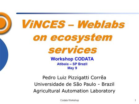 Codata Workshop1 V iNCES – Weblabs on ecosystem services Pedro Luiz Pizzigatti Corrêa Universidade de São Paulo - Brazil Agricultural Automation Laboratory.
