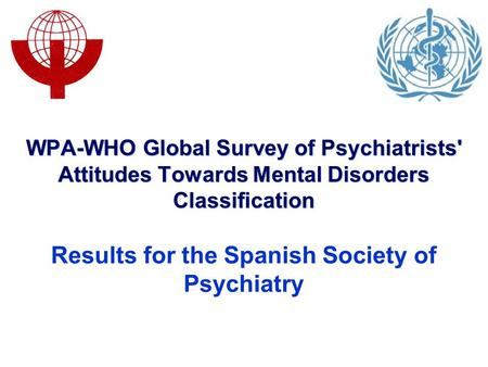 WPA-WHO Global Survey of Psychiatrists' Attitudes Towards Mental Disorders Classification Results for the Spanish Society of Psychiatry.