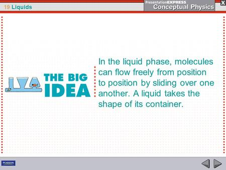 In the liquid phase, molecules can flow freely from position to position by sliding over one another. A liquid takes the shape of its container.