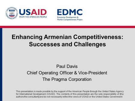 Enhancing Armenian Competitiveness: Successes and Challenges