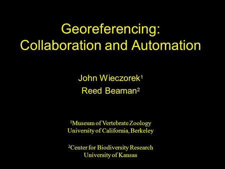 Georeferencing: Collaboration and Automation