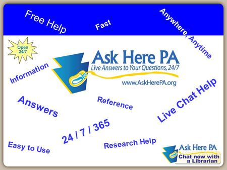 1 Free Help Live Chat Help 24 / 7 / 365 Anywhere, Anytime Answers Reference Research Help Information Easy to Use Fast.