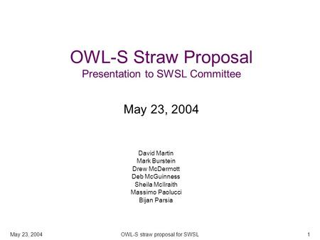 May 23, 2004OWL-S straw proposal for SWSL1 OWL-S Straw Proposal Presentation to SWSL Committee May 23, 2004 David Martin Mark Burstein Drew McDermott Deb.