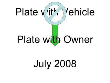 Plate with Vehicle Plate with Owner July 2008. Plate with Owner Applies to the Following Vehicles Commercial Vehicles Noncommercial Vehicles Trailers.