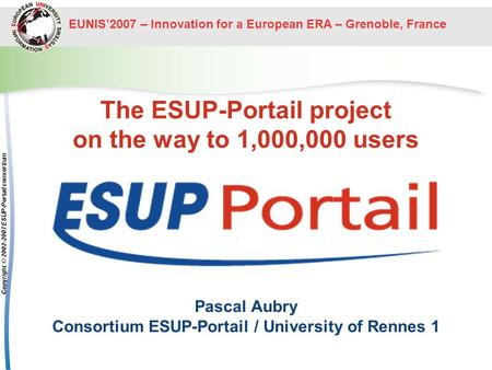 The ESUP-Portail project on the way to 1,000,000 users