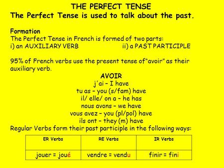 THE PERFECT TENSE The Perfect Tense is used to talk about the past. Formation The Perfect Tense in French is formed of two parts: i) an AUXILIARY VERBii)