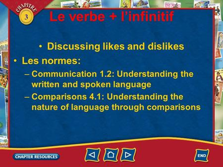 3 Le verbe + linfinitif Discussing likes and dislikes Les normes: –Communication 1.2: Understanding the written and spoken language –Comparisons 4.1: Understanding.