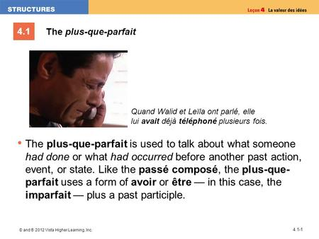 4.1 © and ® 2012 Vista Higher Learning, Inc. 4.1-1 The plus-que-parfait The plus-que-parfait is used to talk about what someone had done or what had occurred.