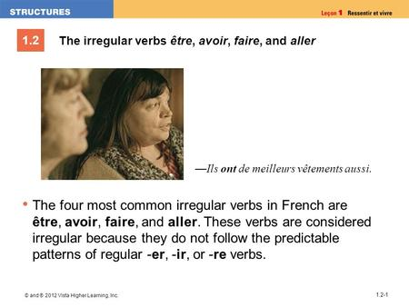 1.2 © and ® 2012 Vista Higher Learning, Inc. 1.2-1 The irregular verbs être, avoir, faire, and aller The four most common irregular verbs in French are.