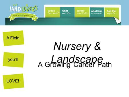 A Field youll LOVE! Nursery & Landscape A Growing Career Path.