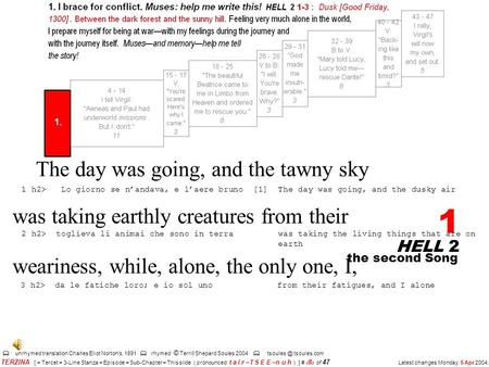 HELL 2 1 unrhymed translation Charles Eliot Norton's, 1891 rhymed © Terrill Shepard Soules 2004 tsoules.com the second Song TERZINA [ = Tercet.