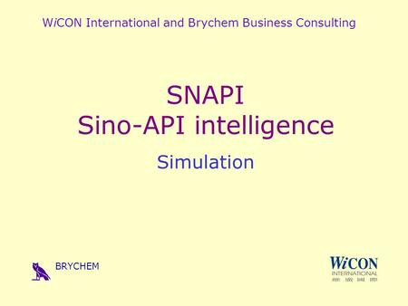 WiCON International and Brychem Business Consulting SNAPI Sino-API intelligence Simulation BRYCHEM.