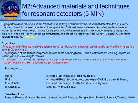STREGA M2:Advanced materials and techniques for resonant detectors (5 MIN) Participants: INFN * -Istituto Nazionale di Fisica Nucleare IFN-Istituto di.