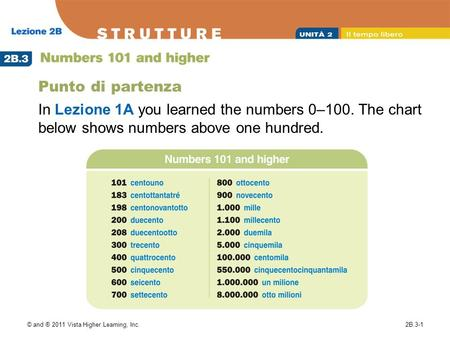 Punto di partenza In Lezione 1A you learned the numbers 0–100. The chart below shows numbers above one hundred. © and ® 2011 Vista Higher Learning, Inc.