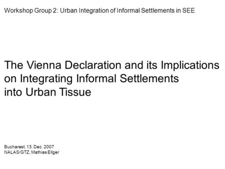 The Vienna Declaration and its Implications