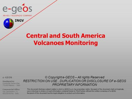 Central and South America Volcanoes Monitoring