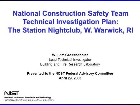 National Construction Safety Team Technical Investigation Plan: