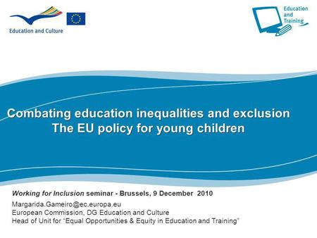 Working for Inclusion seminar - Brussels, 9 December  2010