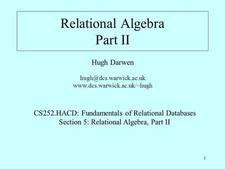 Relational Algebra Part II