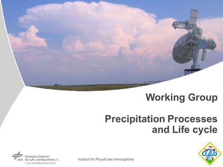 Institut für Physik der Atmosphäre Working Group Precipitation Processes and Life cycle.