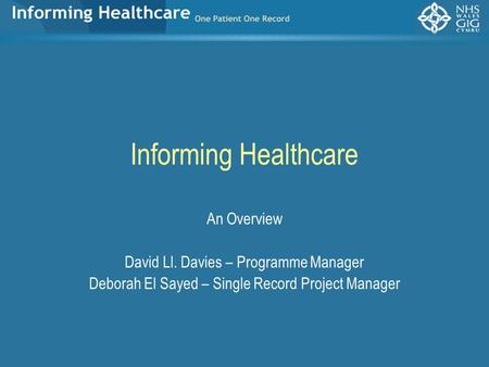 Informing Healthcare An Overview David Ll. Davies – Programme Manager