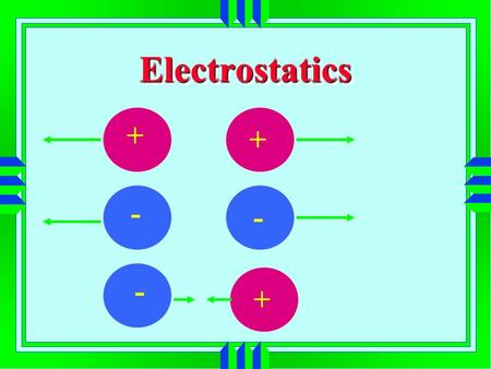 ElectrostaticsElectrostatics + + + - - -. Conservation of Charge Charge can neither be created nor destroyed Positive ions ---- fewer electrons than protons.