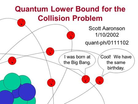 Quantum Lower Bound for the Collision Problem Scott Aaronson 1/10/2002 quant-ph/0111102 I was born at the Big Bang. Cool! We have the same birthday.