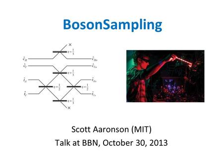 BosonSampling Scott Aaronson (MIT) Talk at BBN, October 30, 2013.