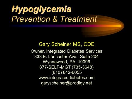 Hypoglycemia Prevention & Treatment