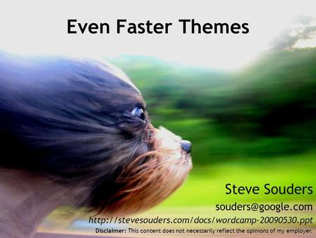 Steve Souders  Even Faster Themes Disclaimer: This content does not necessarily reflect.
