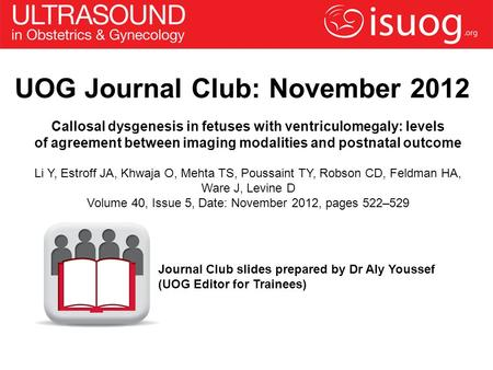 UOG Journal Club: November 2012