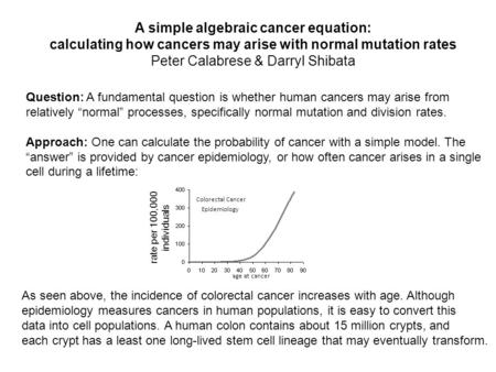 A simple algebraic cancer equation: calculating how cancers may arise with normal mutation rates Peter Calabrese & Darryl Shibata Question: A fundamental.
