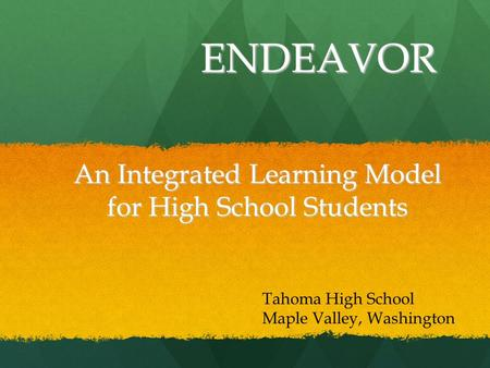 An Integrated Learning Model for High School Students