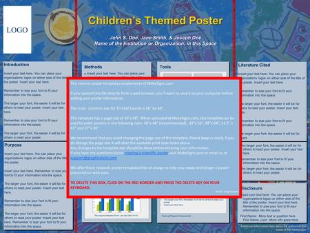 Childrens Themed Poster John S. Doe, Jane Smith, & Joseph Doe Name of the Institution or Organization, in this Space LOGO TRIFOLD AREA – THIS GUIDE WILL.