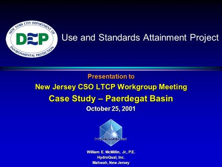Use and Standards Attainment Project Presentation to New Jersey CSO LTCP Workgroup Meeting Case Study – Paerdegat Basin October 25, 2001 William E. McMillin,