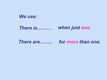 We use: There is……… when just one. There are……..for more than one.