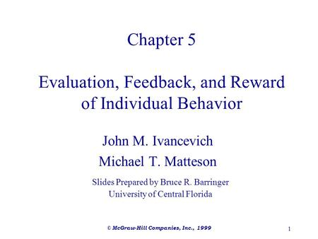 Chapter 5 Evaluation, Feedback, and Reward of Individual Behavior