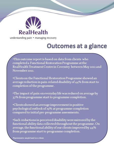 This outcome report is based on data from clients who completed a Functional Restoration Programme at the RealHealth Treatment Centre in Coventry between.
