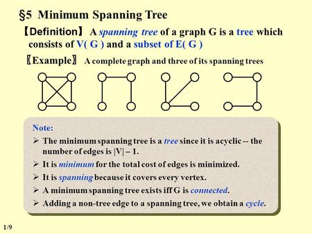 §5 Minimum Spanning Tree 【 Definition 】 A spanning tree of a graph G is a tree which consists of V( G ) and a subset of E( G ) 〖 Example 〗 A complete.