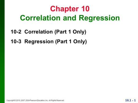 Chapter 10 Correlation and Regression