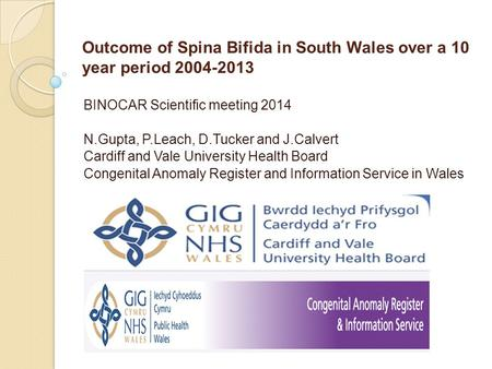 Outcome of Spina Bifida in South Wales over a 10 year period 2004-2013 BINOCAR Scientific meeting 2014 N.Gupta, P.Leach, D.Tucker and J.Calvert Cardiff.