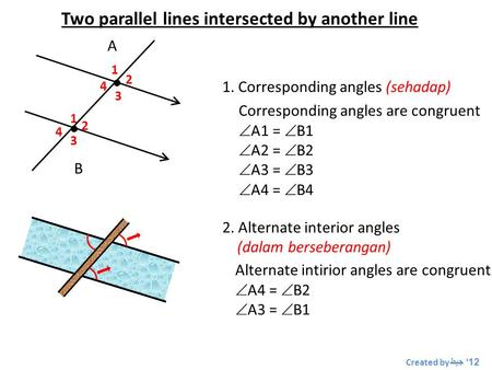 Two parallel lines intersected by another line   A B 1 1 2 2 3 3 4 4 1. Corresponding angles (sehadap) Corresponding angles are congruent  A1 =  B1.