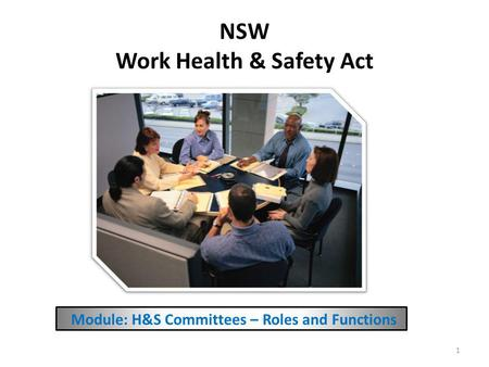 NSW Work Health & Safety Act Module: H&S Committees – Roles and Functions 1.
