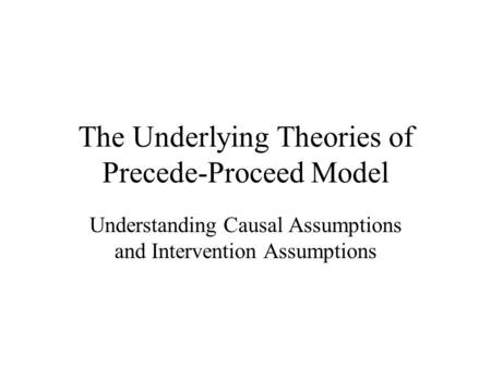 The Underlying Theories of Precede-Proceed Model