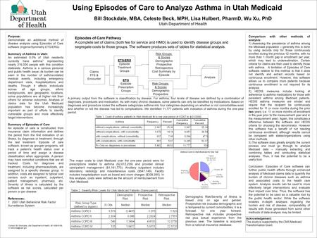 Bill Stockdale, MBA, Celeste Beck, MPH, Lisa Hulbert, PharmD, Wu Xu, PhD Utah Department of Health Comparison with other methods of analysis: 1) Assessing.