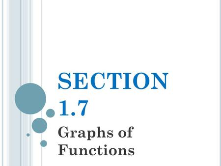 SECTION 1.7 Graphs of Functions. T HE F UNDAMENTAL G RAPHING P RINCIPLE FOR F UNCTIONS The graph of a function f is the set of points which satisfy the.