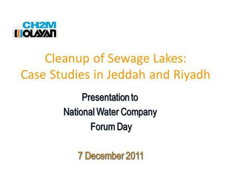 Cleanup of Sewage Lakes: Case Studies in Jeddah and Riyadh.