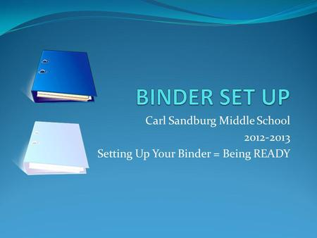 Carl Sandburg Middle School 2012-2013 Setting Up Your Binder = Being READY.