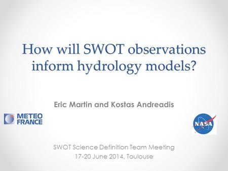 How will SWOT observations inform hydrology models?