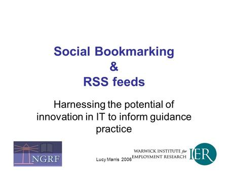 Social Bookmarking & RSS feeds